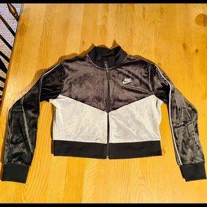 Nike heritage velour cropped zip up jacket
